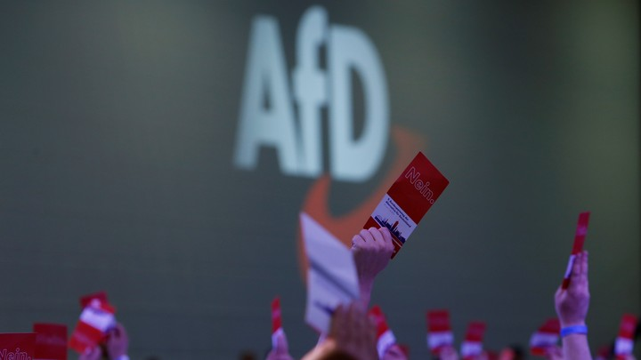 """Participants at an Alternative for Germany party congress raise pamphlets in front of a sign reading """"AfD."""""""