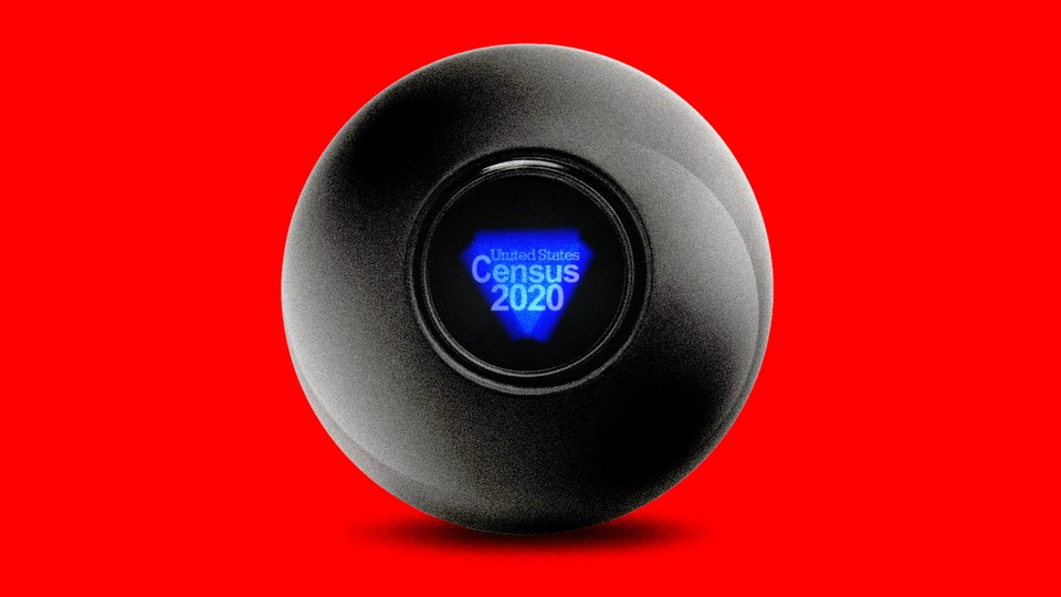 """A magic eight ball with """"United States Census 2020"""" in the viewfinder"""