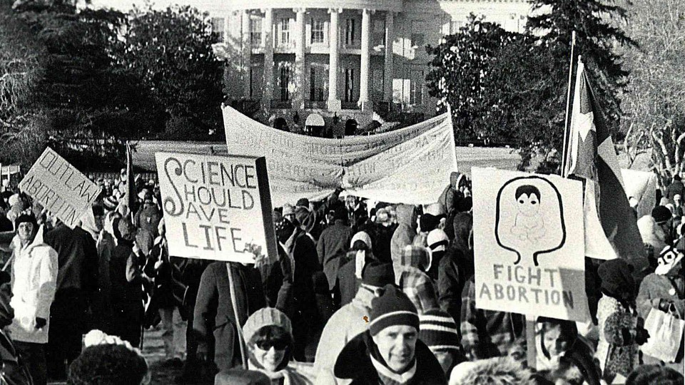 A 1980s March for Life protest in front of the White House
