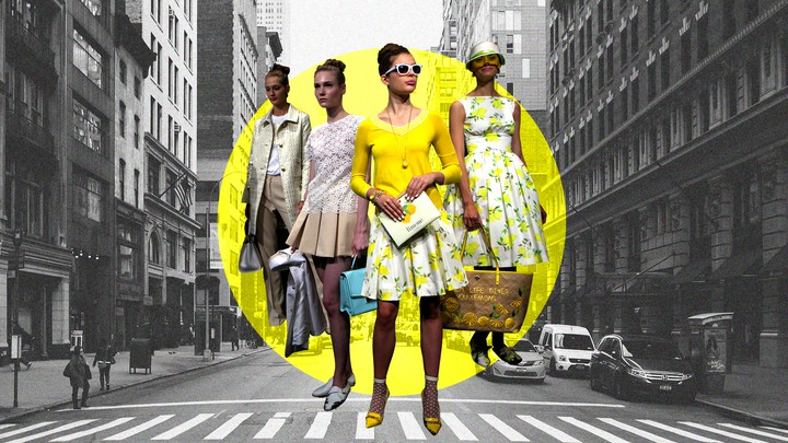 A cutout of models wearing Kate Spade clothing against a photo of a New York street