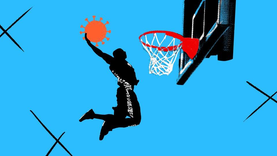 An illustration of a basketball player slamming a coronavirus shape into a hoop.