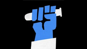 a blue fist held up as if in protest, clutching a test tube