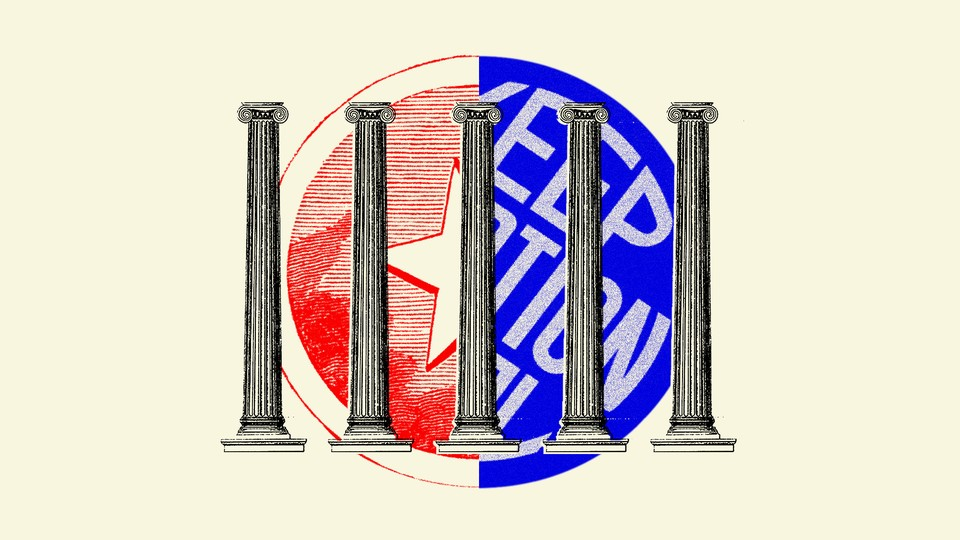 Artwork depicting black and white roman columns overlaid on a circle made up of half of the Texas state flag and half of a blue 'Keep Abortion Legal' sign.