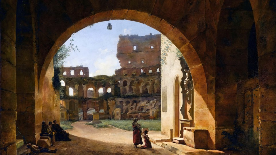 A painting of an arched entrance to the Colosseum covered in plant life