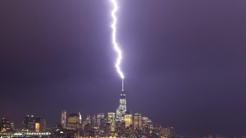 Lightning strikes One World Trade Center in New York.