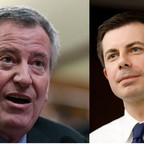 Bill de Blasio, the mayor of New York City (Left) and Pete Buttigieg, the mayor of South Bend (Right)