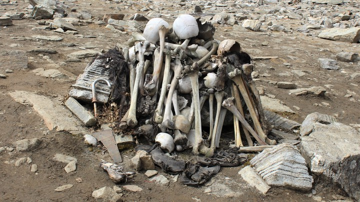 A stack of bones at Roopkund lake