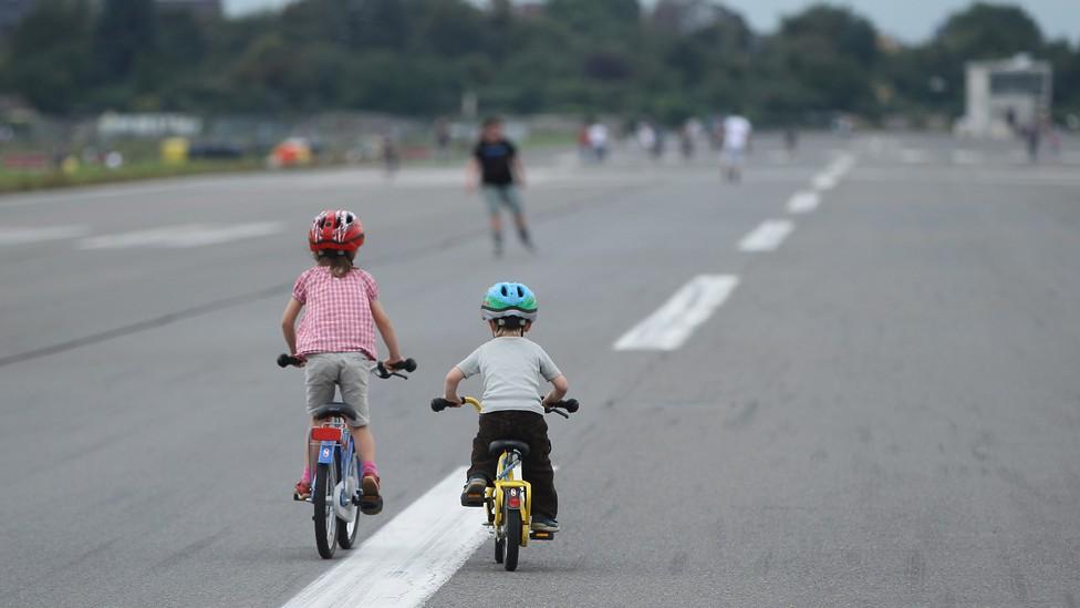 Two children on bikes