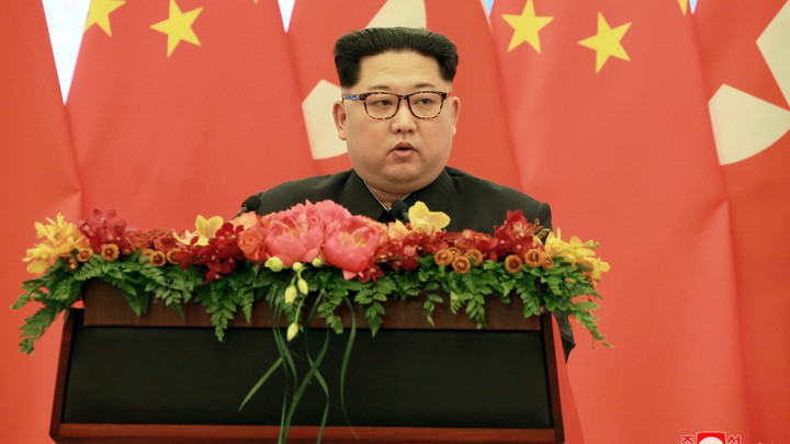 North Korean leader Kim Jong Un speaks in Beijing.
