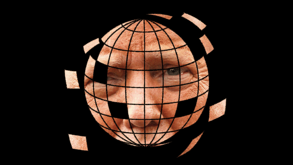 An illustration of the globe made up of images of Trump's face.