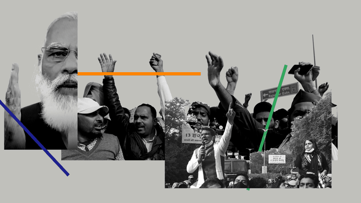 A collage featuring Indian Prime Minister Narendra Modi and demonstrators participating in farmers' protests