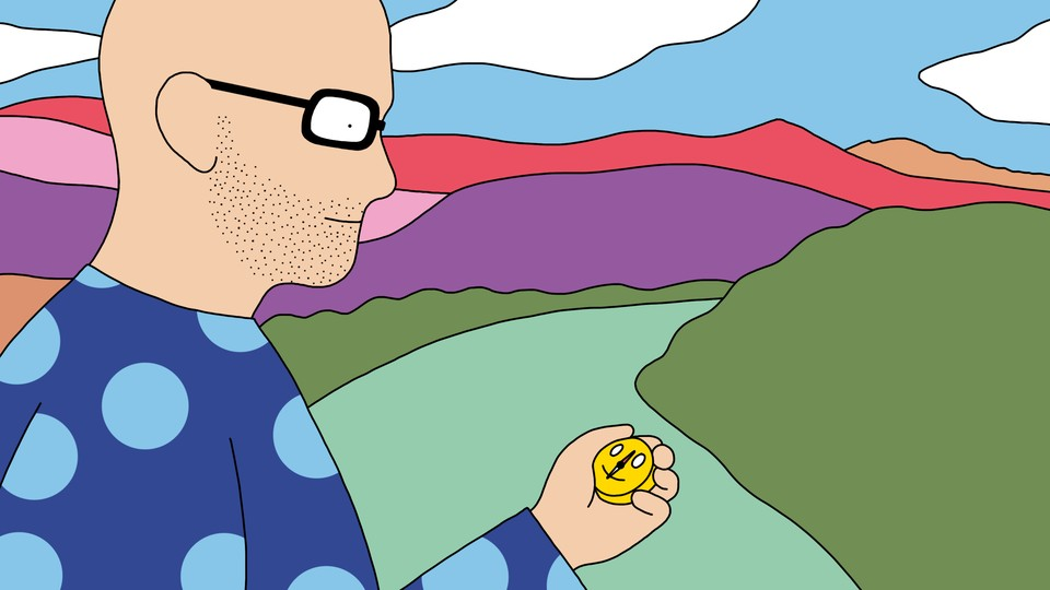 A drawing of a person walking down a path through the mountains, looking at a compass with a smiley-face design