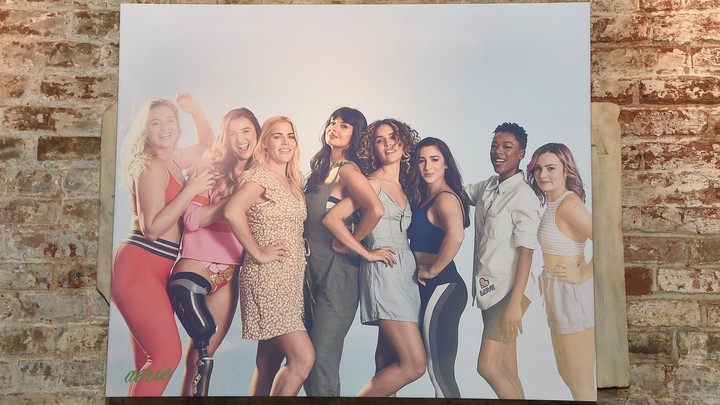 A photo of women in an ad campaign for the clothing brand Aerie