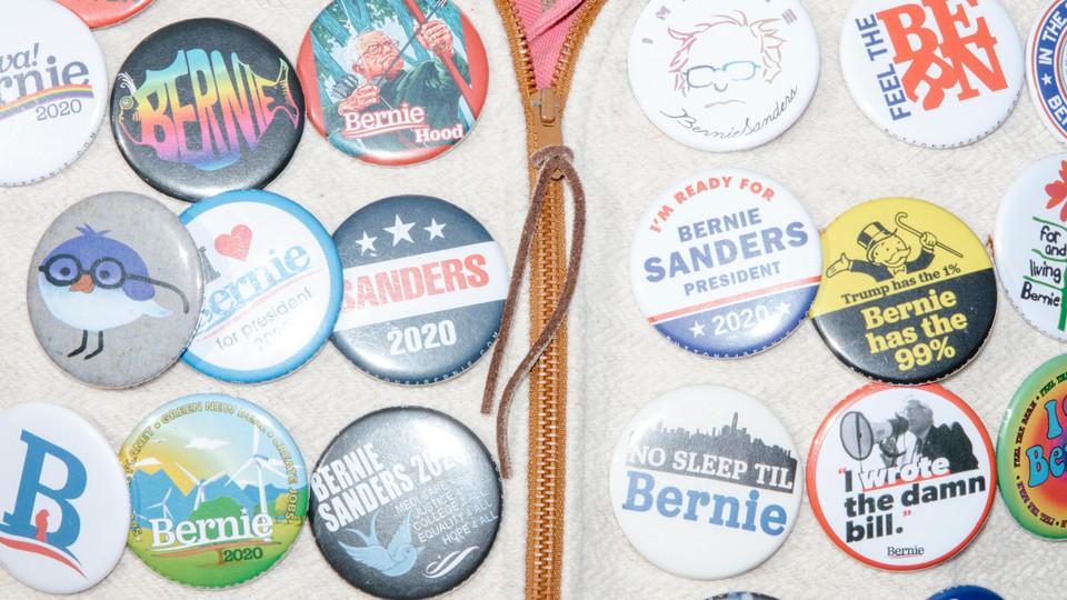 Bernie Sanders buttons in New Hampshire