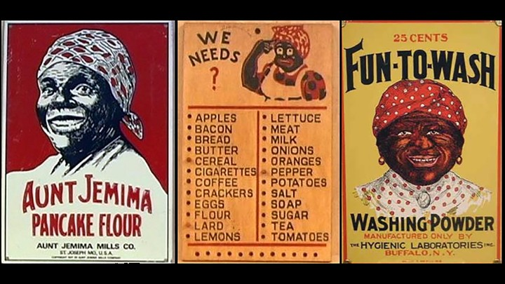 """Vintage signage featuring """"mammy"""" images of a Black woman with a scarf head wrapping"""
