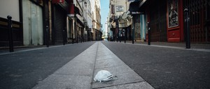 photo: A deserted street in the Saint Michel district of Paris, France.