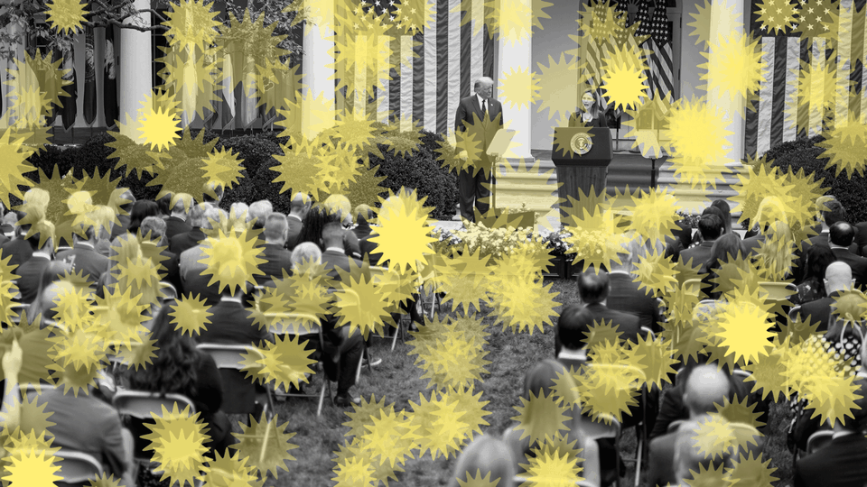 An illustration of Amy Coney Barrett and Donald Trump in the Rose Garden with coronavirus drawings around
