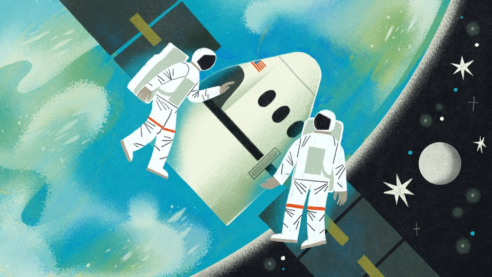 An illustration of two astronauts in space.