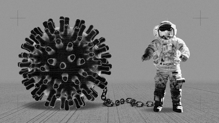 An astronaut shackled to a coronavirus particle