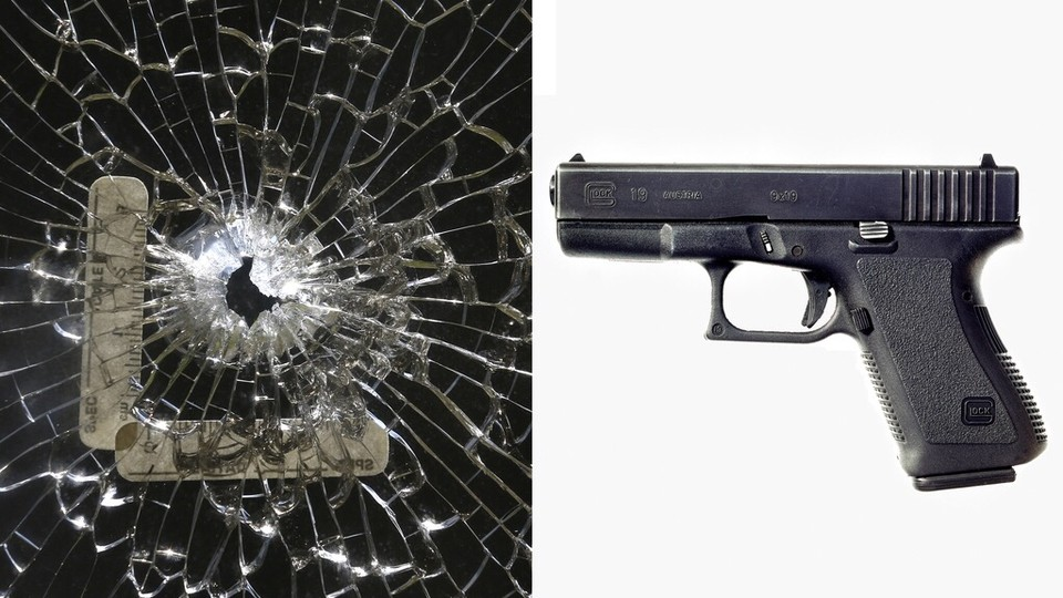 A diptych of a photo of glass shattered by a bullet and a photo of a gun.