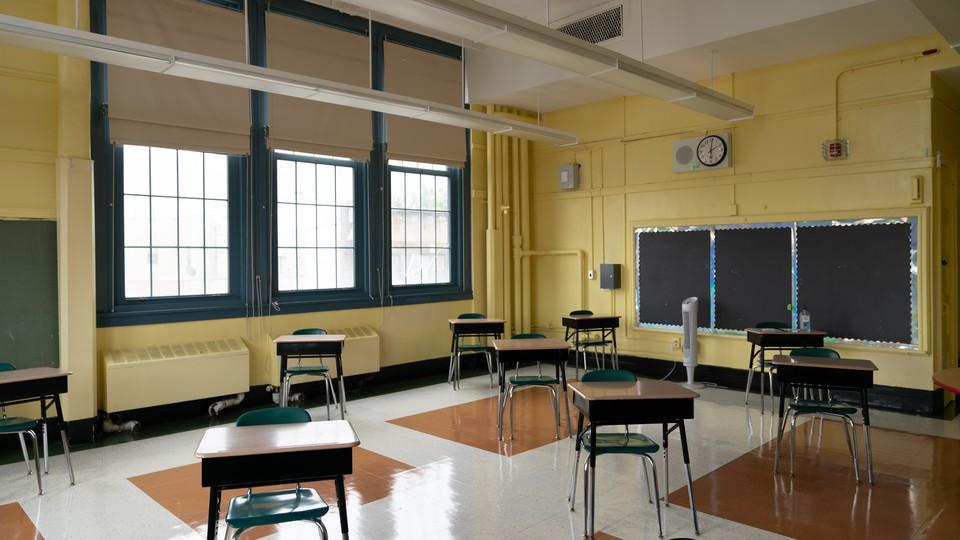 An empty classroom in Brooklyn.