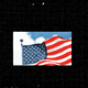 An illustration of an American flag on a black screen.