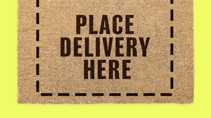 """A doormat that reads, """"PLACE DELIVERY HERE"""""""