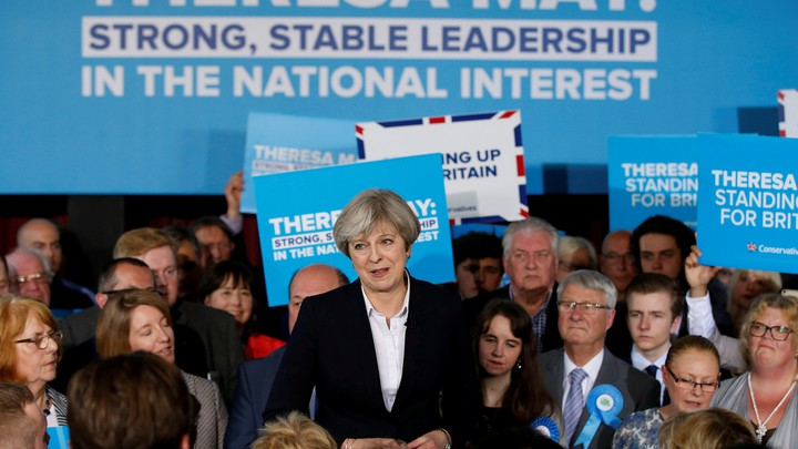 Britain's Prime Minister Theresa May delivers a speech to Conservative Party members.