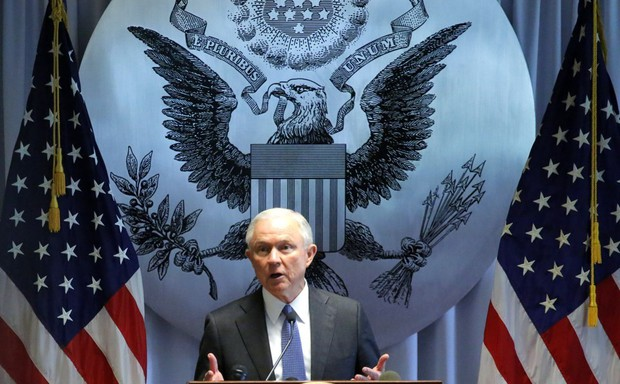 Attorney General Jeff Sessions addresses federal, state, and local law enforcement in Central Islip, New York