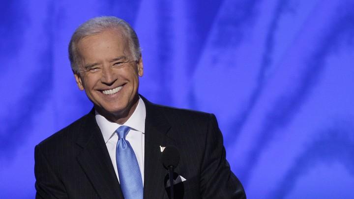 Joe Biden smiling at the 2008 Democratic Convention