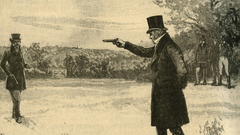 A drawing of two men facing off in a duel