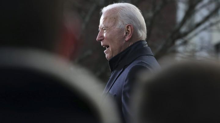 Joe Biden speaks to supporters in New Hampshire.