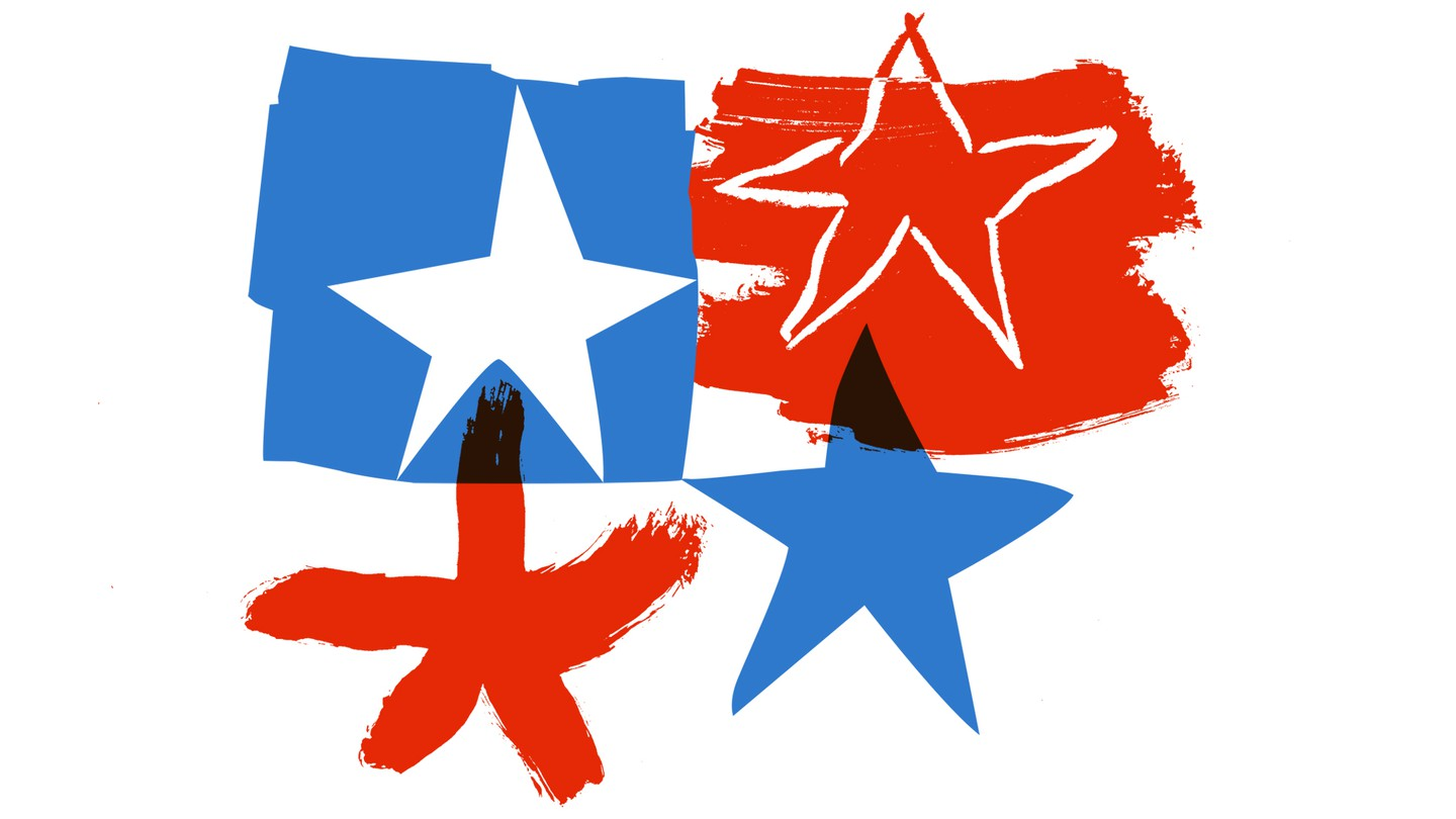 Four different illustrated stars in red and blue