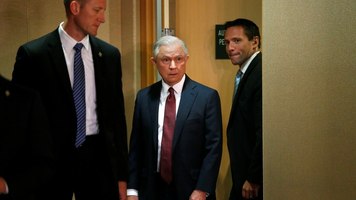 U.S. Attorney General Jeff Sessions arrives at a news conference on September 5.