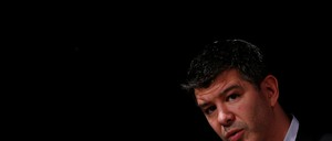Uber CEO Travis Kalanick addresses a gathering at an event in New Delhi