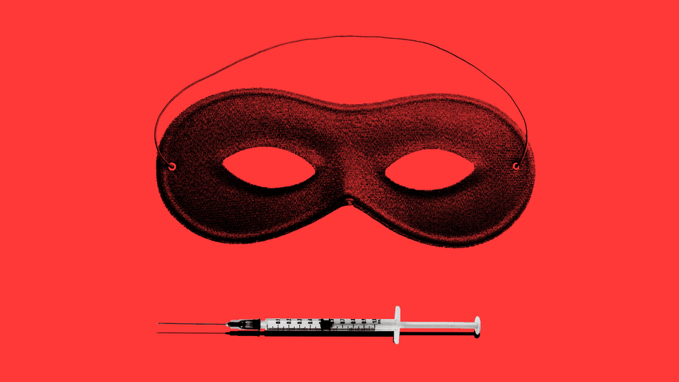 Illustration of a mask with a vaccine needle.
