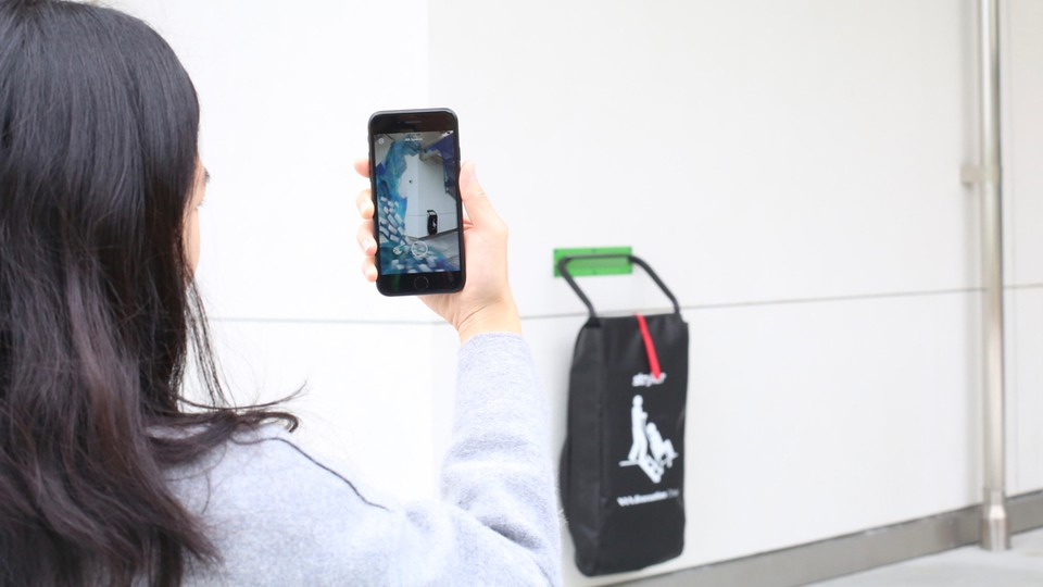 Artist Heather Day's augmented-reality art installation on Facebook's campus