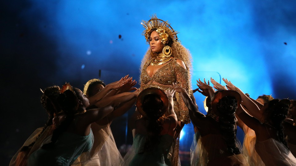 Beyonce performs at the Grammy Awards in Los Angeles in 2017.