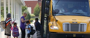 Students arrive at Raleigh's Barwell Road Elementary School.