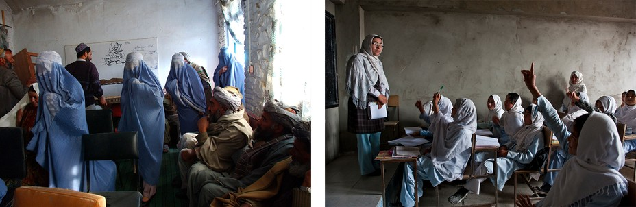 Left: Women in Burqa's file past men sitting in a room. Right: girls in a classroom