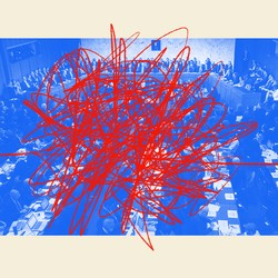 An illustration of Congress with red scribbles
