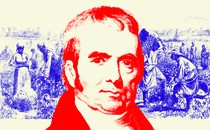A red-hued portrait of John Marshall laid over a blue-hued illustration of slaves working in a field
