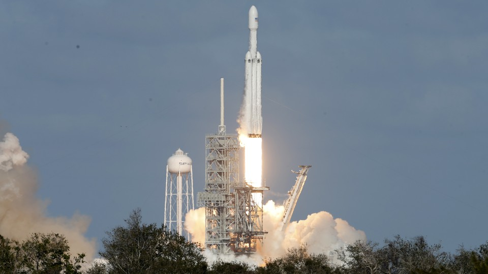 The Falcon Heavy lifts off from Kennedy Space Center.