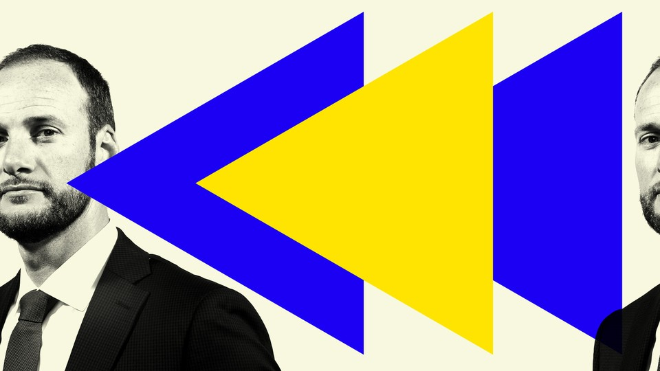 District Attorney Chesa Boudin is featured with blue and yellow triangles on a light-yellow background