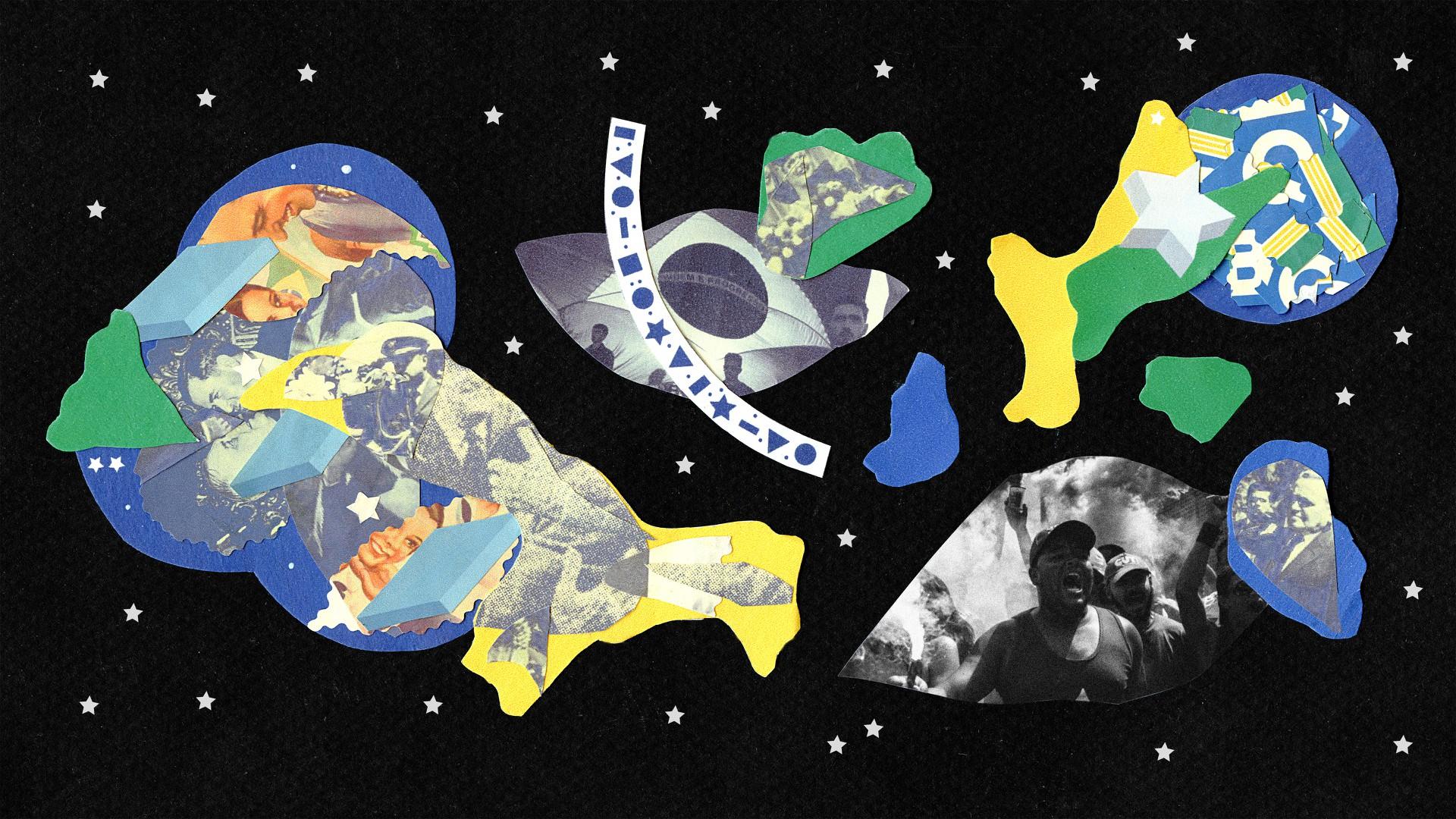Illustration featuring different Brazil scenes