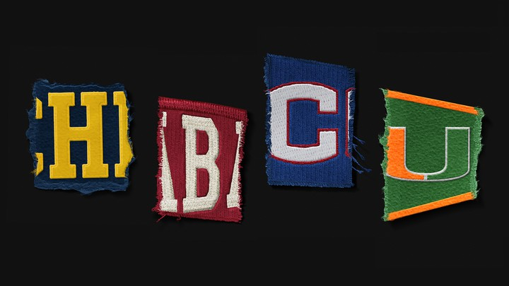 "Patches spell out ""HBCU."""