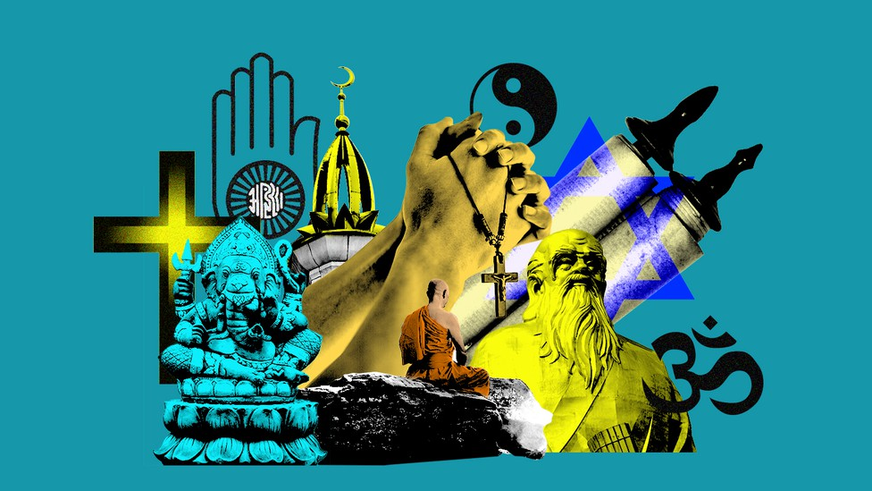 A collage showing symbols of various religions