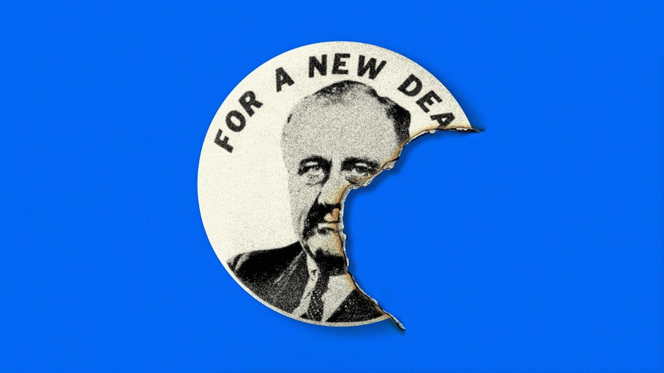 """Illustration of a torn """"For a New Deal"""" sticker."""