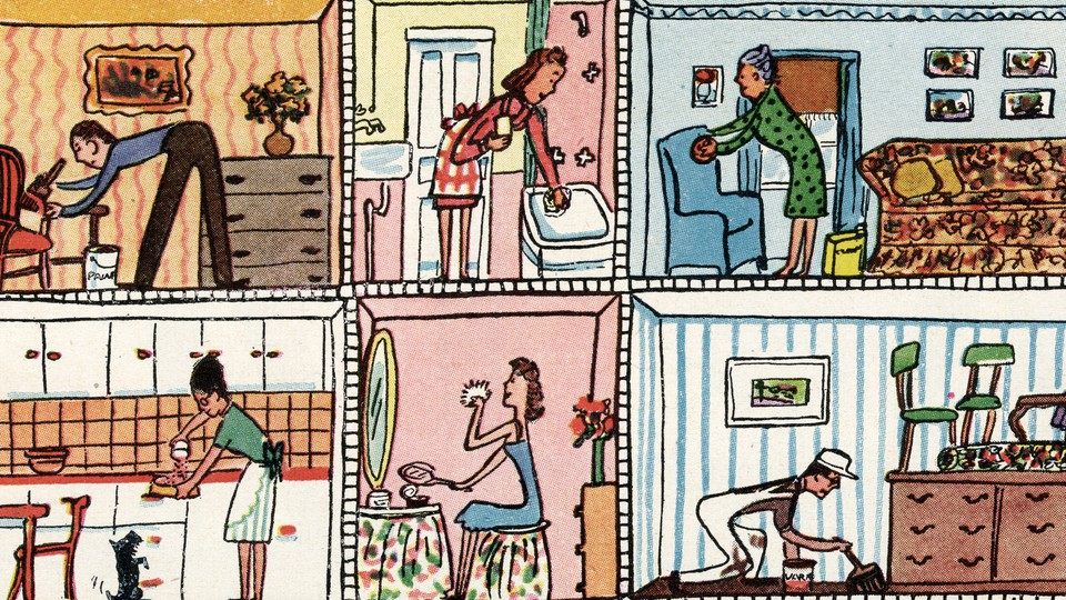 An illustration of various occupants of an apartment building going about their daily lives