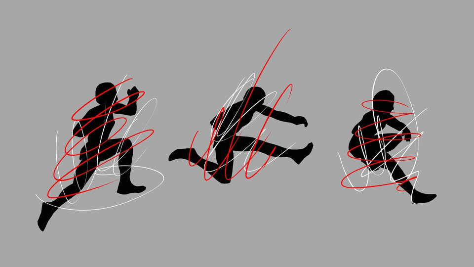 Three sequential silhouettes of a runner jumping, distorted by scribbles